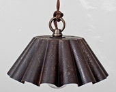 Brioche Tin Pendant Light - Ebonized Rust Patina (LG) - Rustic Modern Vintage Industrial // Vintage Style Cloth Twisted Cord & Bakelite Plug