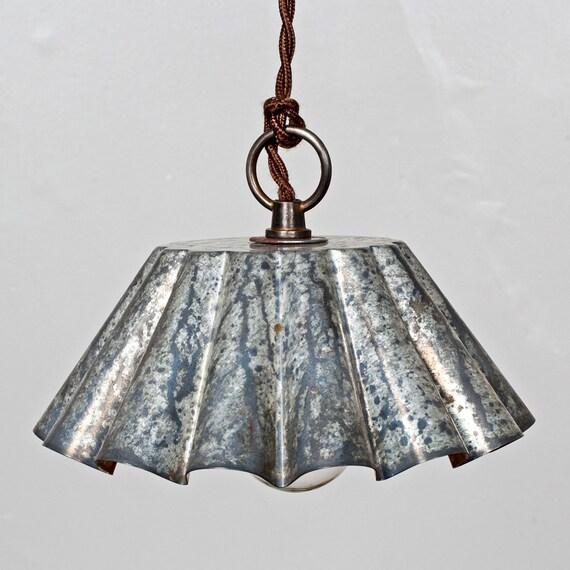 Brioche Tin Pendant Light - Barn Aged Patina (LG) - Rustic Modern Vintage Industrial  // Vintage Style Cloth Twisted Cord & Bakelite Plug