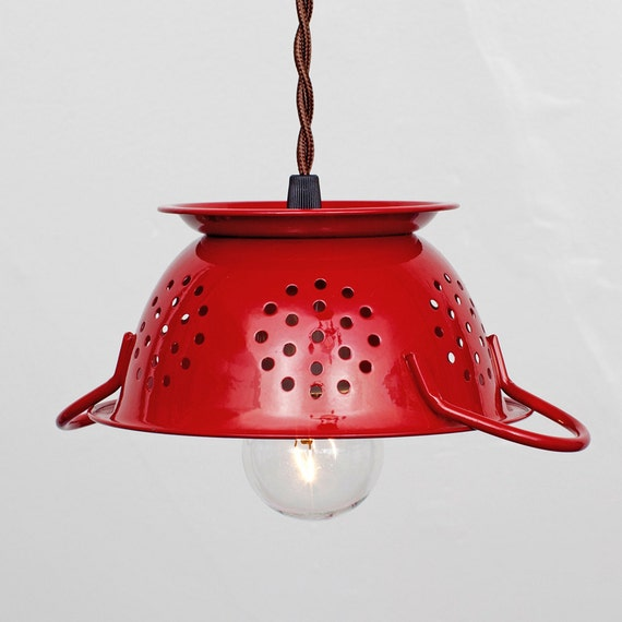 Mini Kitchen Colander Pendant Light Cherry Red Enamel