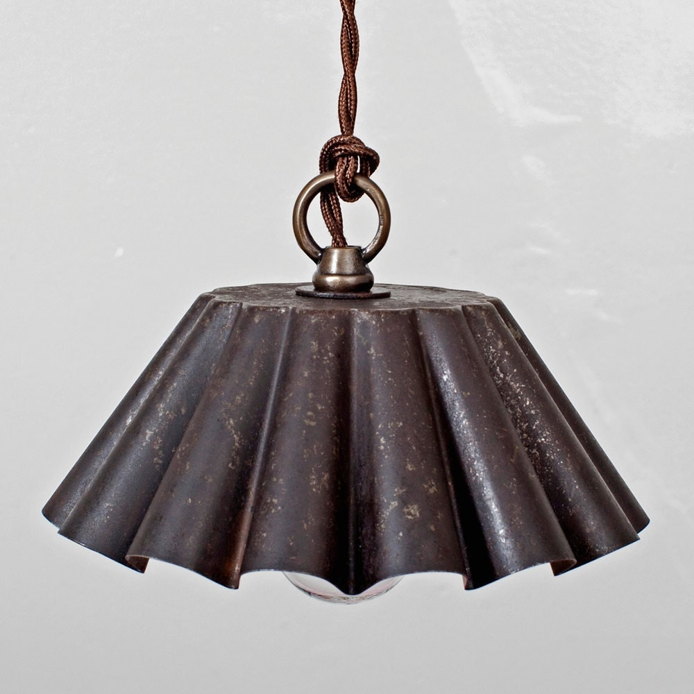 Just Reduced Rustic Handmade 3 Bulb Hanging Light Fixture Or: Brioche Tin Pendant Light Ebonized Rust Patina LG Rustic