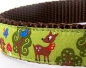 My Forest Friends Dog Collar, Adjustable Deer Pet Collar, Green, Garden Pet Collar