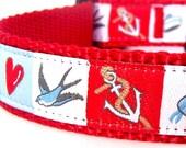 My Little Sailor Dog Collar / Nautical Theme / Preppy Dog Collar / Adjustable