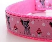Pinky Deer Dog Collar, Adjustable Collar, Ribbon Pet Collar, Pink