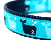 Save the Whales Dog Collar, Adjustable Ribbon Dog Collar, Nautical Ocean Pet Collar