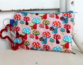 Pet Mess Clean Up Bag / Mushroom Forest fabric  / Pet Leash Purse