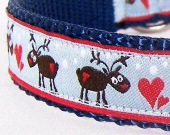 Blue Reindeer Dog Collar, Holiday Collar, Christmas Pet Collar, Blue