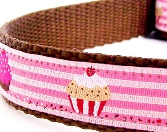 Pink Cupcakes Dog Collar,  Girl Pet Collar, Stripes, Ribbon Adjustable Collar