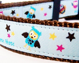 Hoots and Stars Dog Collar  - Last One - Adjustable Dog Collar