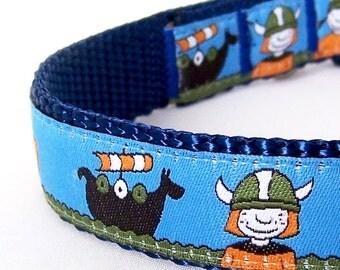 Sail On Viking Dog Collar, Adjustable Ribbon Collar, Blue Pet Collar, Boy Dog Collar