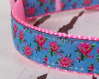 Pretty Roses Dog Collar, Blue Background, Shabby, Cottage Chic Pet Collar