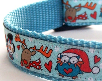 Christmas Owls Dog Collar, Holiday Snowman on Aqua Blue, Reindeer, Snowman