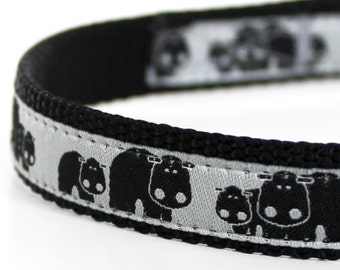 Happy Hippo Dog Collar, 5/8 inch width Small Dog, Adjustable Ribbon Pet Collar