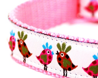 Pink Retro Chickens Dog Collar,  Ribbon adjustable collar, Farm Dog Collar, Chicks Pet Collar