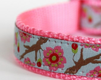 Cherry Blossoms Dog Collar, Light Blue  Dog Collar,  Floral Collar, Adjustable Collar