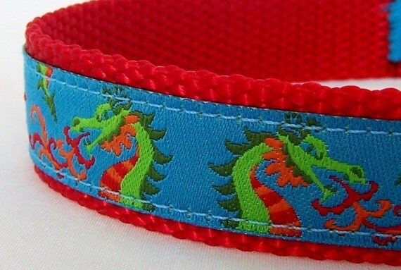 Chinese Dragon Dog Collar in Teal