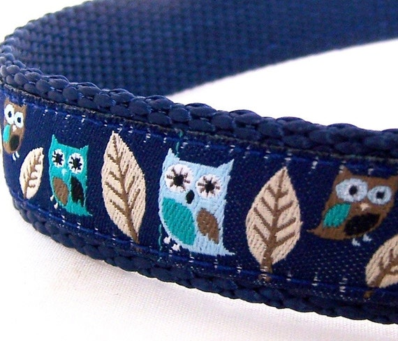 Hootie Owls Dog Collar on Navy / up to size small only available