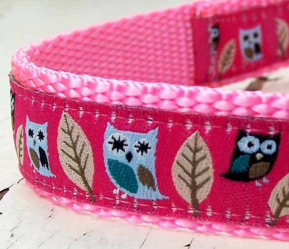 Pink Owls Dog Collar, Hootie, Adjustable Pet Collar, Ribbon Collar