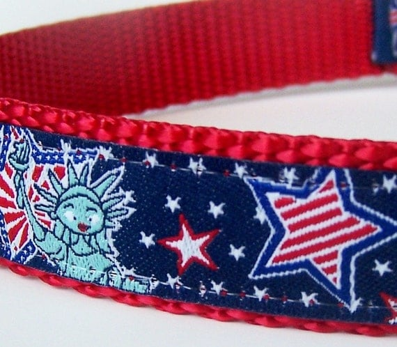 Lady Liberty Dog Collar, Patriotic Pup Pet Collar, Red White and Blue
