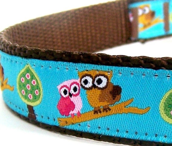 Teal Owls on a Branch Dog Collar, Ribbon Adjustable Pet Collar, Forest Friends