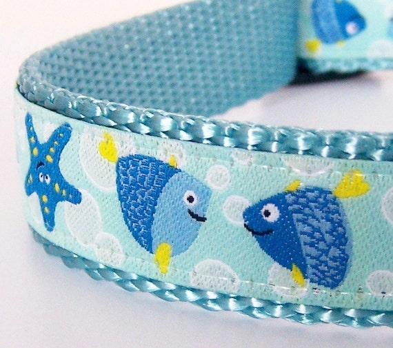 Under the sea dog collar fish and seashells nautical pet for Fish dog collar