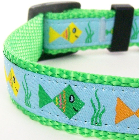 Fish Crackers Dog Collar / Handmade Pet Accessory / Last one up to Size Medium