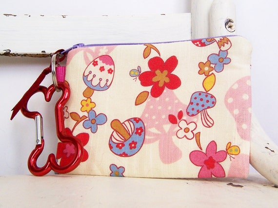 Pet Mess Clean Up Bag / Cute Mushrooms and Flowers / Pet Leash Purse