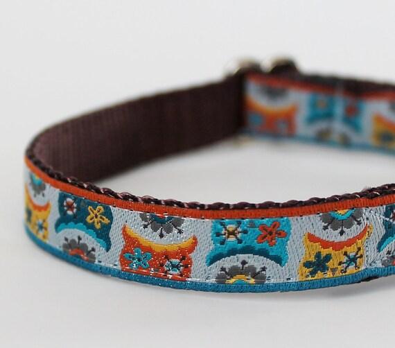 Teacup Dog Collar / Peekaboo Owls  / Puppy Collar 1/2 inch width