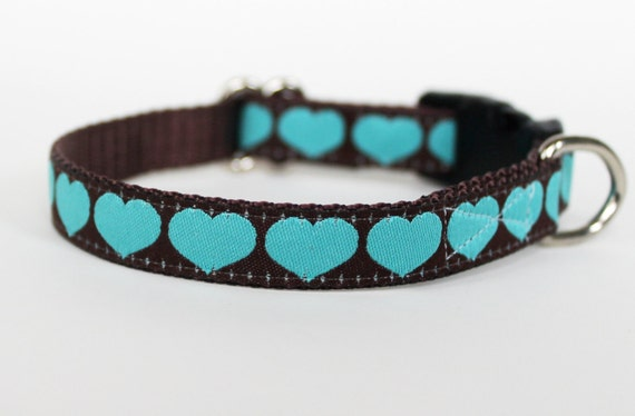 Teacup Dog Collar / Aqua Hearts  / Puppy Collar 1/2 inch width / last one premade