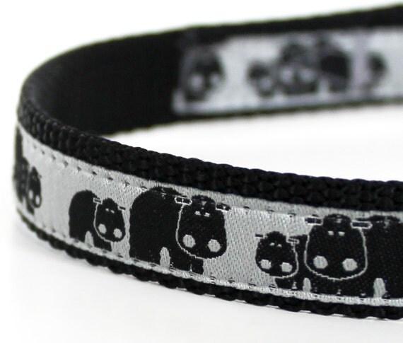 Happy Hippo Dog Collar, 5/8 inch width Small Dog, Adjustable Ribbon Pet Collar
