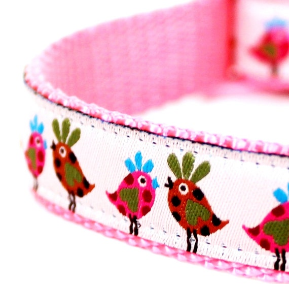 Pink Retro Chickens Dog Collar / Ribbon adjustable collar / Only Medium Available Premade