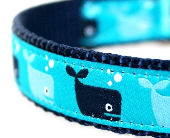 Save the Whales Dog Collar, Adjustable Ribbon Dog Collar, Nautical Ocean Pet Collar