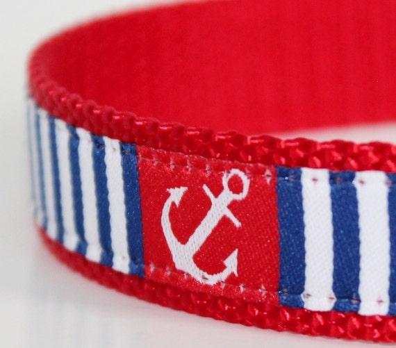 Anchors Away Dog Collar on Red / Adjustable  / Nautical Dog Collar