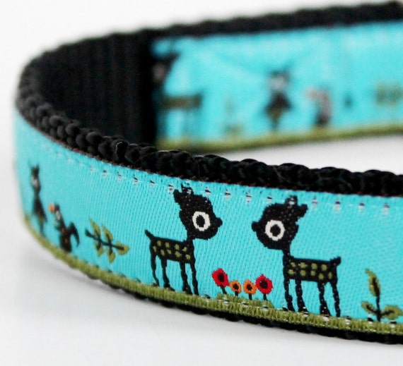 Woodland Friends on Teal Dog Collar / Last One Size Small Premade