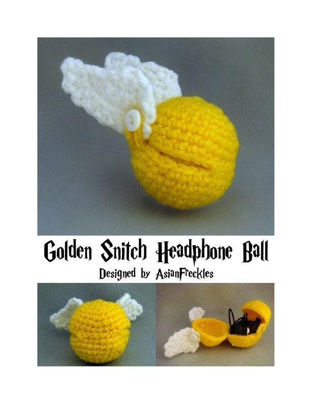 Close Amigurumi Ball : PATTERN Golden Snitch Headphone Ball