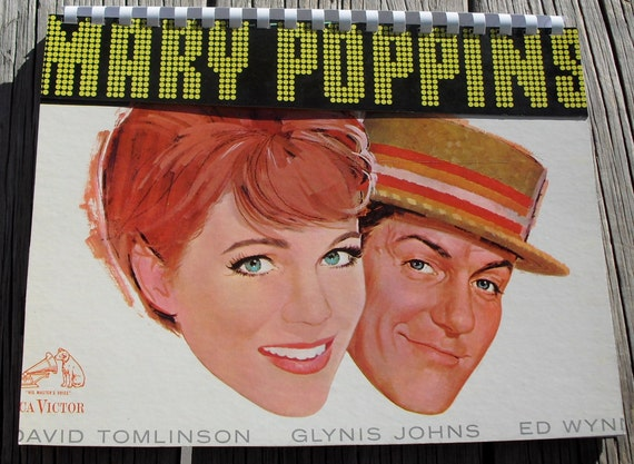 Vintage 1960s Walt Disney's Mary Poppins Julie Andrews Dick Van Dyke Record Album Recycled / Upcycled LP Cover Blank Comb-Bound Journal