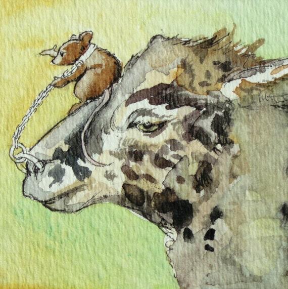 """Llama Art - """"Bond"""" -  ACEO Watercolor Painting"""