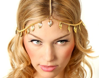 Gold Leaf Grecian Chain Headpiece Headband