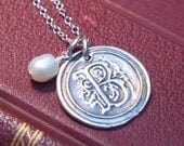 Silver Initial Monogram Pendant Necklace -- Wax Seal
