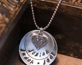 Hand Stamped Charm Necklace -- Around My Heart