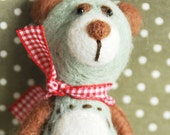 4inches Needle felted cute bear with red ribbon(Free Shipping)