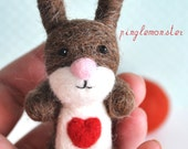 Brown & White Needle Felted Easter Bunny with Heart - Make Your Own Needle Felting Kit