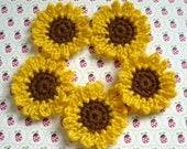 Set of 5 - Crochet Sunflower Appliques