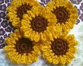 10pcs - Crochet Sunflower Appliques - made to order