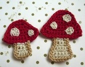 2pcs - Mushroom Crochet Appliques - Mama Shroom and Baby Shroom in red with beige dots - made to order