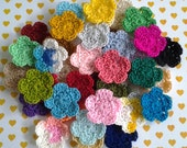 10pcs - Forget Me Not Flowers Crochet Appliques - fine acrylic yarn - choose your colors - made to order