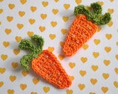 4pcs - Carrot Crochet Applique - made to order