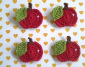 6pcs - Red Whole Apple Crochet Appliques - fine acrylic yarn - made to order