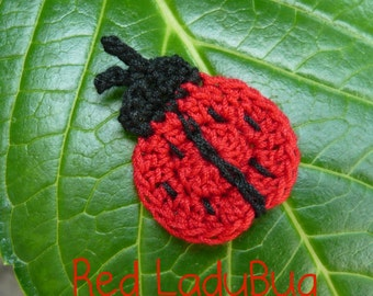 6pcs - LadyBug Crochet Appliques-choose any color you like - made to order