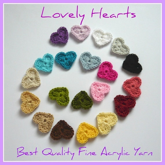10pcs - Crochet Sweet Heart Appliques - Choose your own colors - made to order