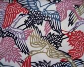 Cranes in Flight Silk Kimono Remnant 2